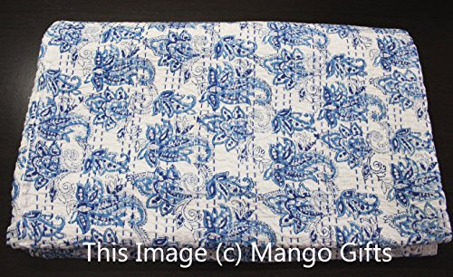 Mango Gifts Pure Cotton Kantha Style Queen Size 100% Cotton Quilt, Indian Hand-Block Print Vintage Throw Ralli