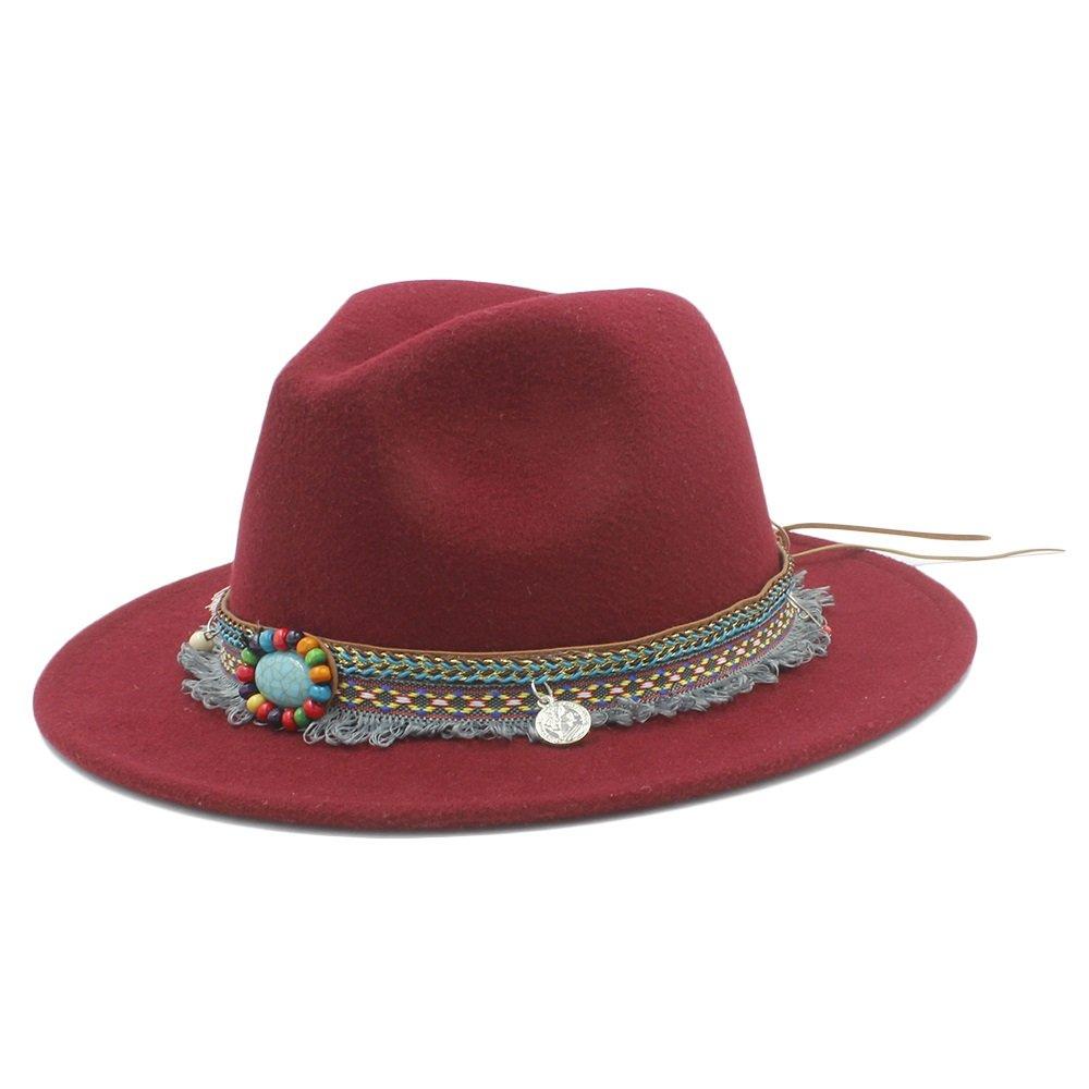 BAM - Hüte Breiter Sonnenhut, Fedora Panamahut mit Quaste Bohemia Ribbon Für Frauen (Farbe : 1, Größe : 57-58CM)