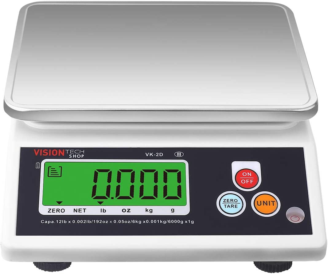 VisionTechShop VK-2D Digital Kitchen Scale, Lb/Oz/Kg/g Switchable, Stainless Steel Plate Food Scale, Large LCD Display with Backlight, 12lb Capacity, 0.002lb Readability