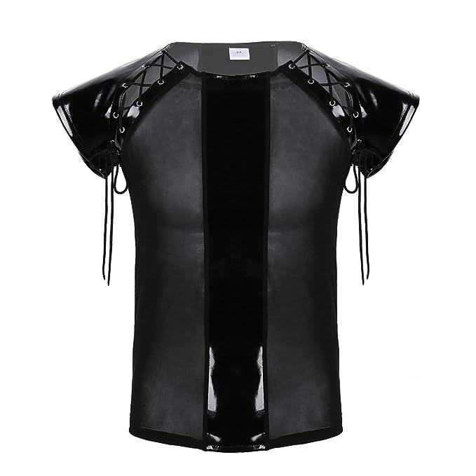 FEESHOW Herren transparent Patchwork Shirt Kurzarm Mesh Top Wetlook Spleiß Lack Leder Schnürung Design Sexy Geil Clubwear DJ