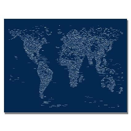 Amazon Com Font World Map By Michael Tompsett 18x24 Inch Canvas