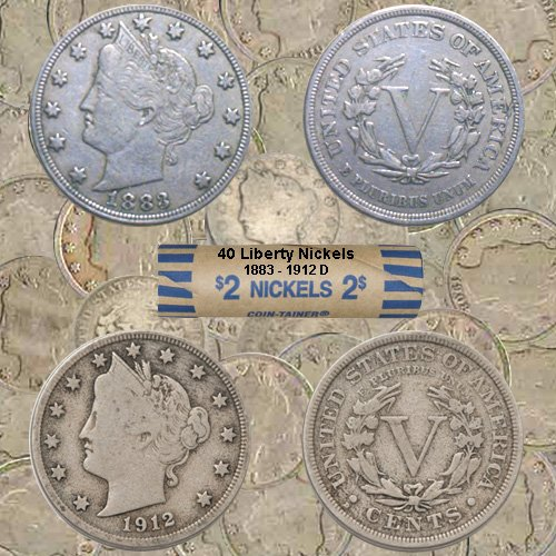 Liberty Head Nickels – Roll of 40 Coins Including 1883 & 1912 D - Average Circulated Condition