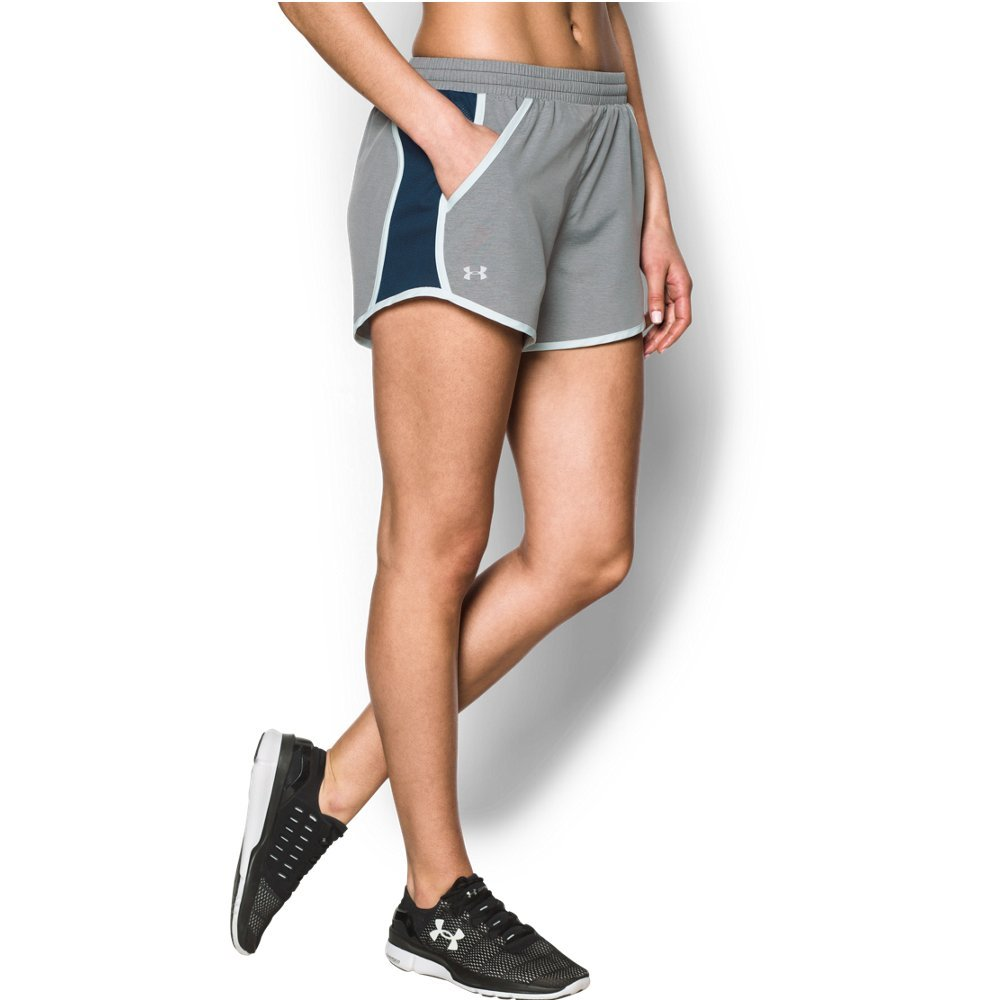 Under Armour womens Fly By Running Shorts, Carbon Heather (090)/Reflective, Large by Under Armour