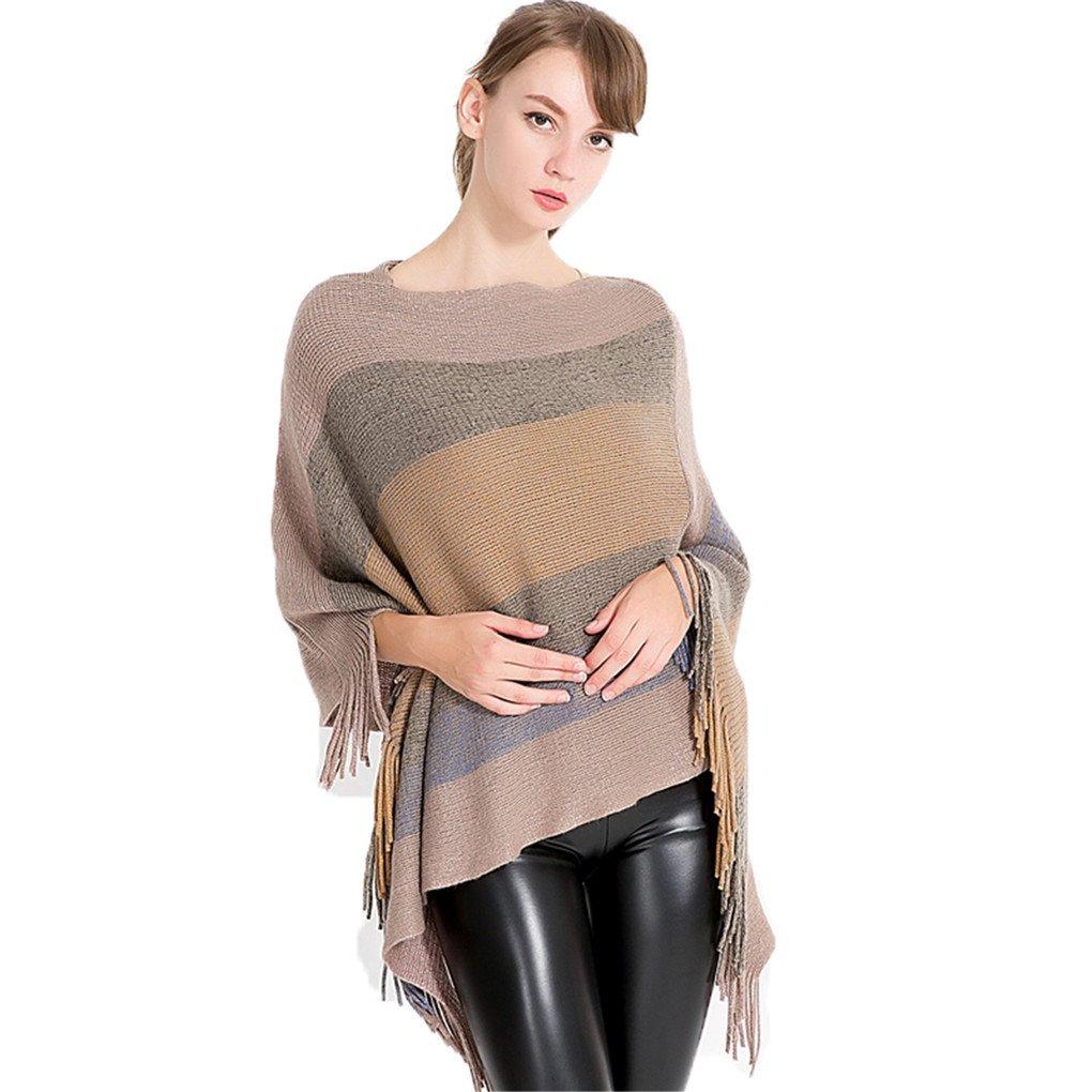 Leoparts Women Stripe Elegant Knitted Pullover Poncho Cape Tassel Wrap Cloak Shawl