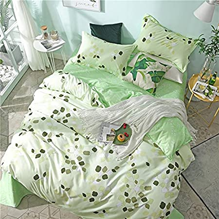Leaf Nature, Green, Full,71x86 KFZ Bedding Set Duvet Cover Flat Sheet Pillowcase No Comforter 4pcs//Set ZF Twin Full Queen King Magic Lattice Leaf Rose Love Triangle Flower Design