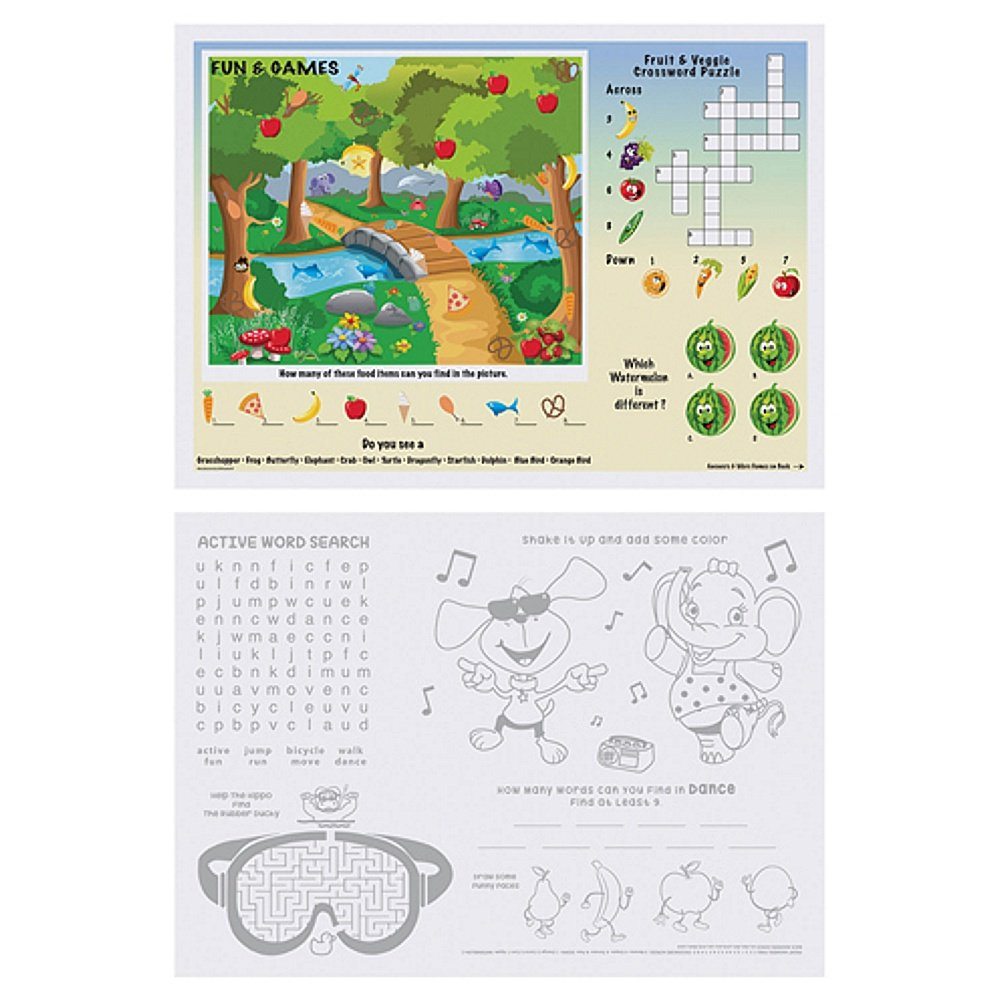 Kids Games and Puzzles Paper Placemats - 10in. X 14in. (50)