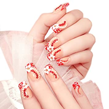 Charming Wedding Bridal French Nails Fake Nail Rhinestones Art Design 07