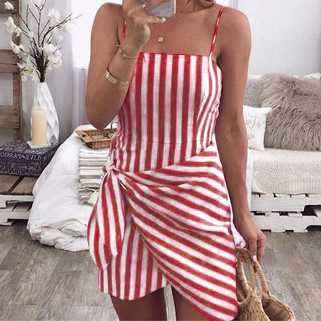 TOYFUNNY Womens Off The Shoulder Striped Side Bandage Strap Dress