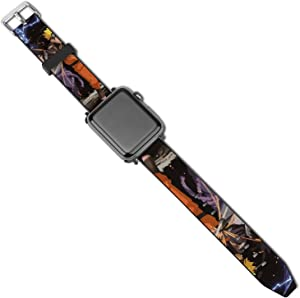 Mens Women Japanese Anime Uzumaki-Naruto Ultimate Ninja Art Apple Watch Band 38mm/40mm, 42mm/44mm, Adjustable Protective Watch Bands Sport Bands, PU Leather Sport Replacement Strap