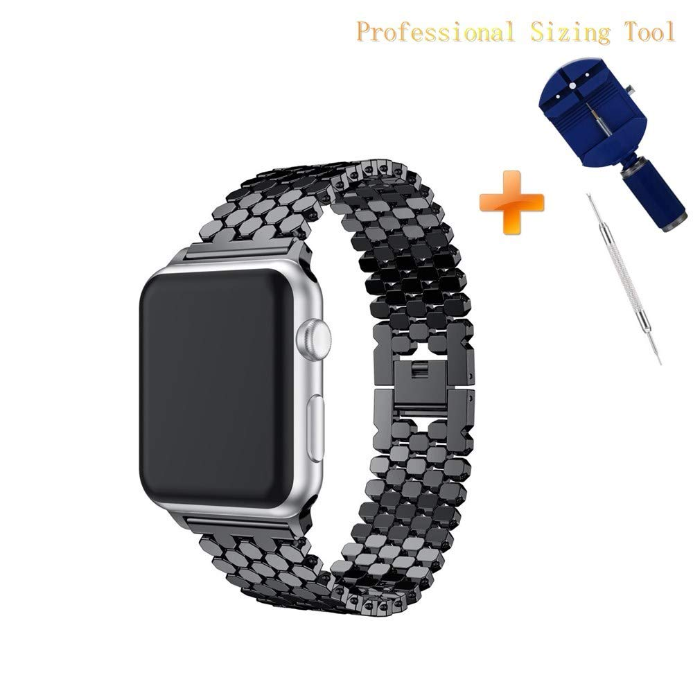 Cywulin Stainless Steel Metal Bands Loop Compatible iWatch 42mm 44mm Apple Watch Series 4, Series 3, Series 2, Series 1 Sports Edition, Fashion Replacement Strap Link Bracelet (42mm/44mm, Black)