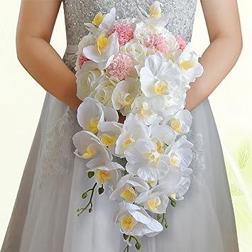 Phalaenopsis Wasserfall Hochzeit Brautstrauss Crystal Brautjungfer