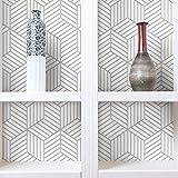 "RoomMates RMK10705WP Peel and Stick Wallpaper, 20.5"" x 16.5 feet, White/Grey"