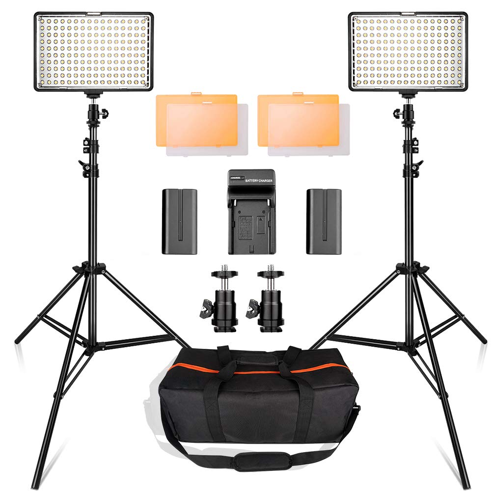 LED Video Light Kit with 2M Light Stand, SAMTIAN 2-Pack Dimmable 3200K 5500K 160 LED Photo Light Panel Lighting Kit with Large Carry Case Charger Batteries for YouTube Studio Photography Shooting by SAMTIAN