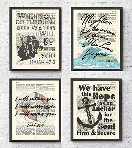 Nautical Bible Verse Christian Art Prints, Set of 4, Isaiah 43:2, Isaiah 46:4, Psalm 93:4, Hebrews 6:19, Unframed, Bible Verse Scripture Wall Decor Poster, 8x10 Inches