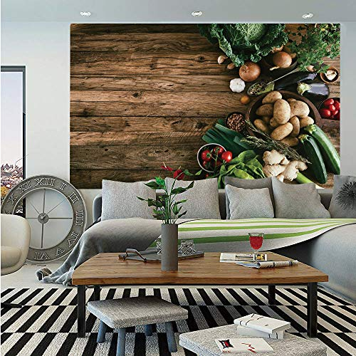 SoSung Harvest Removable Wall Mural,Various Vegetables on Rustic Wooden Table Onions Potatoes Zucchini Cherry Tomatoes Decorative,Self-Adhesive Large Wallpaper for Home Decor 66x96 inches,Brown Green