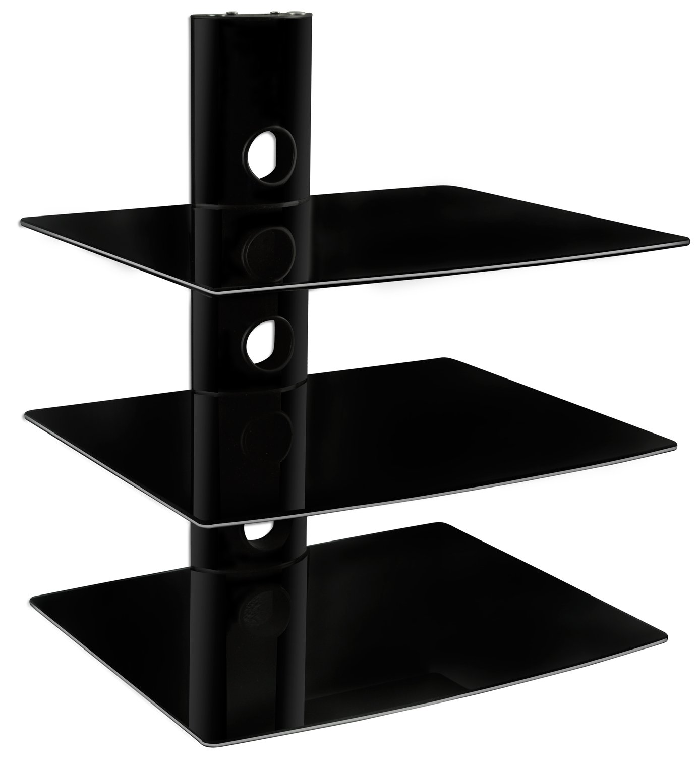 Mount-It! MI-803 Floating Wall Mounted Shelf Bracket Stand for AV Receiver, Component, Cable Box, Playstation4, Xbox1, VCR Player, Blue Ray DVD Player, Projector, Load Capacity 66 lbs, Three Shelves, Tinted Tempered Glass