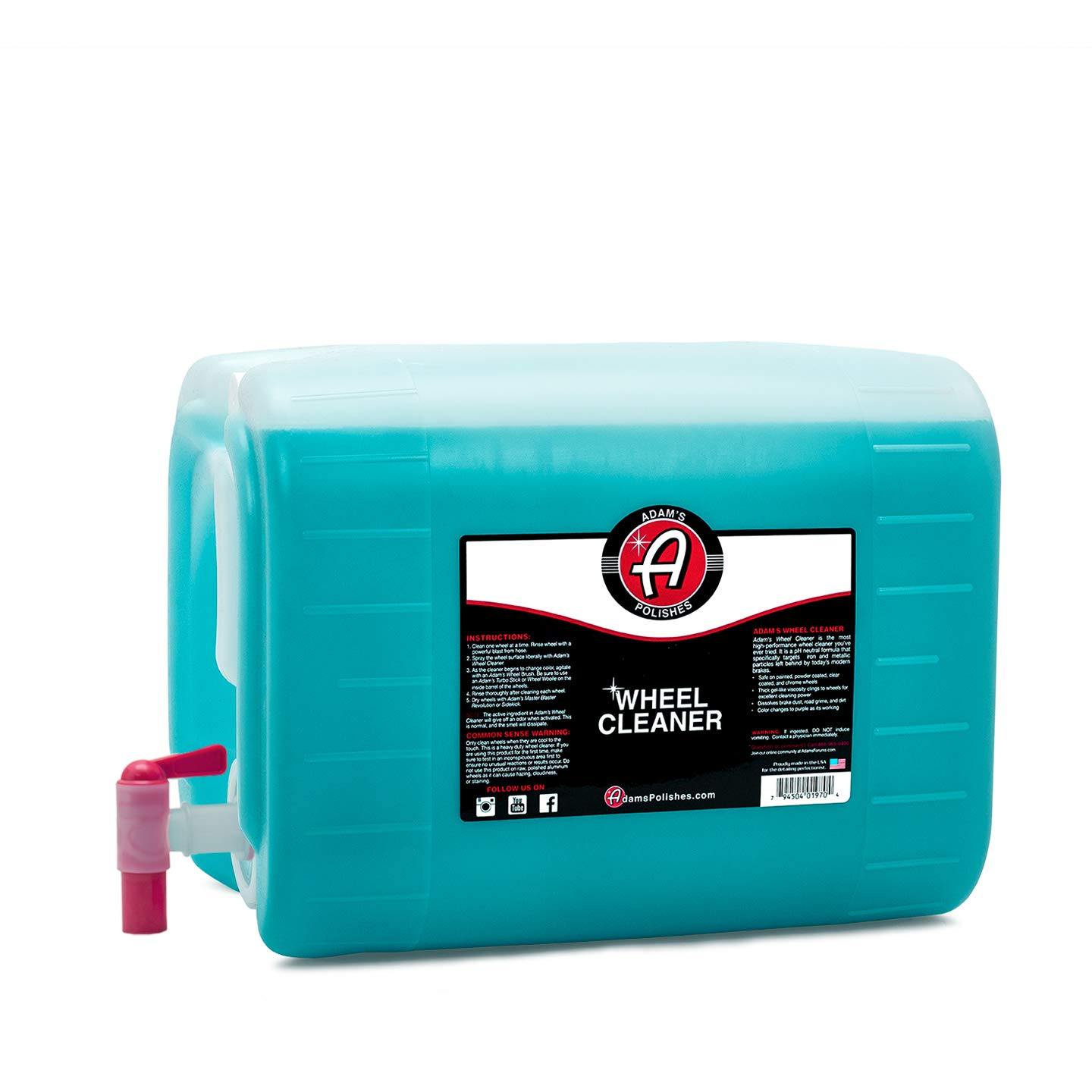 Adam's Deep Wheel Cleaner - Tough on Brake Dust, Gentle On Wheels - Changes Color As It Works (5 Gallon)