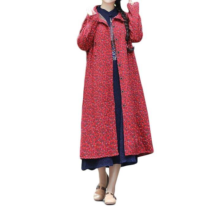 Linlink Venta de liquidación Abrigos Mujer Invierno Elegantes Mujeres más tamaño Invierno Abrigo algodón-Acolchado impresión fácil Larga Chaqueta Suelta ...
