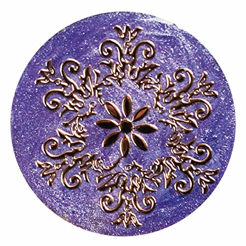 TEDORA ITALY 100% Hand-Made in Italy 925 Sterling Silver With Design in Foil Snow-Flake & 'Purple' Enamel Metal Button PXT001/9 Fits Tedora Pushin(BR DDP,BR LUC,BR UPP,BR ALT,BR BAS & BR MET) Bracelet 925 Sterling Silver Foil