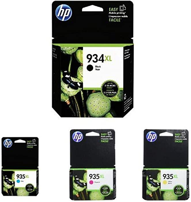 HP 934XL High Yield Black and HP 935XL High Yield Cyan/Magenta/Yellow Ink Cartridge Bundle (C2P23AN, C2P24AN, C2P25AN, C2P26AN)