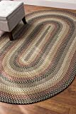 Colonial Green Area Rug, Braided Textured Design, 5Ft. X 8Ft. Oval Reversible, Washable Carpet