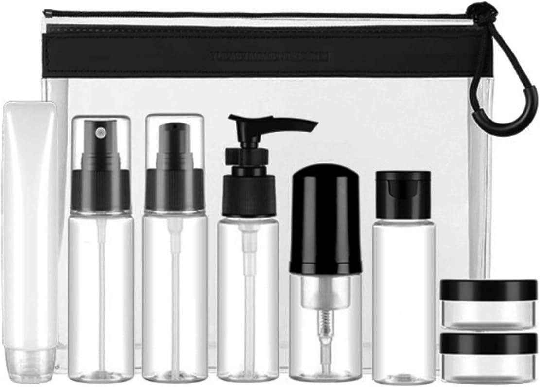 Set Botellas de Viaje Accesorios-(9 Piezas) Botella Plastico Avion, Pulverizador,Botes Spray Vacios,Contenedor Dosificador, Envases para Cosmetica, Kit Botes (Transparente)