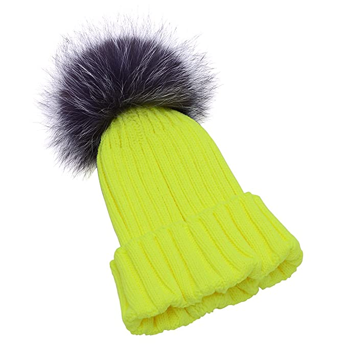 50c588e84 GuoMan Womens Girls Knitted Fur Hat Real Large Silver Fox Fur Pom ...