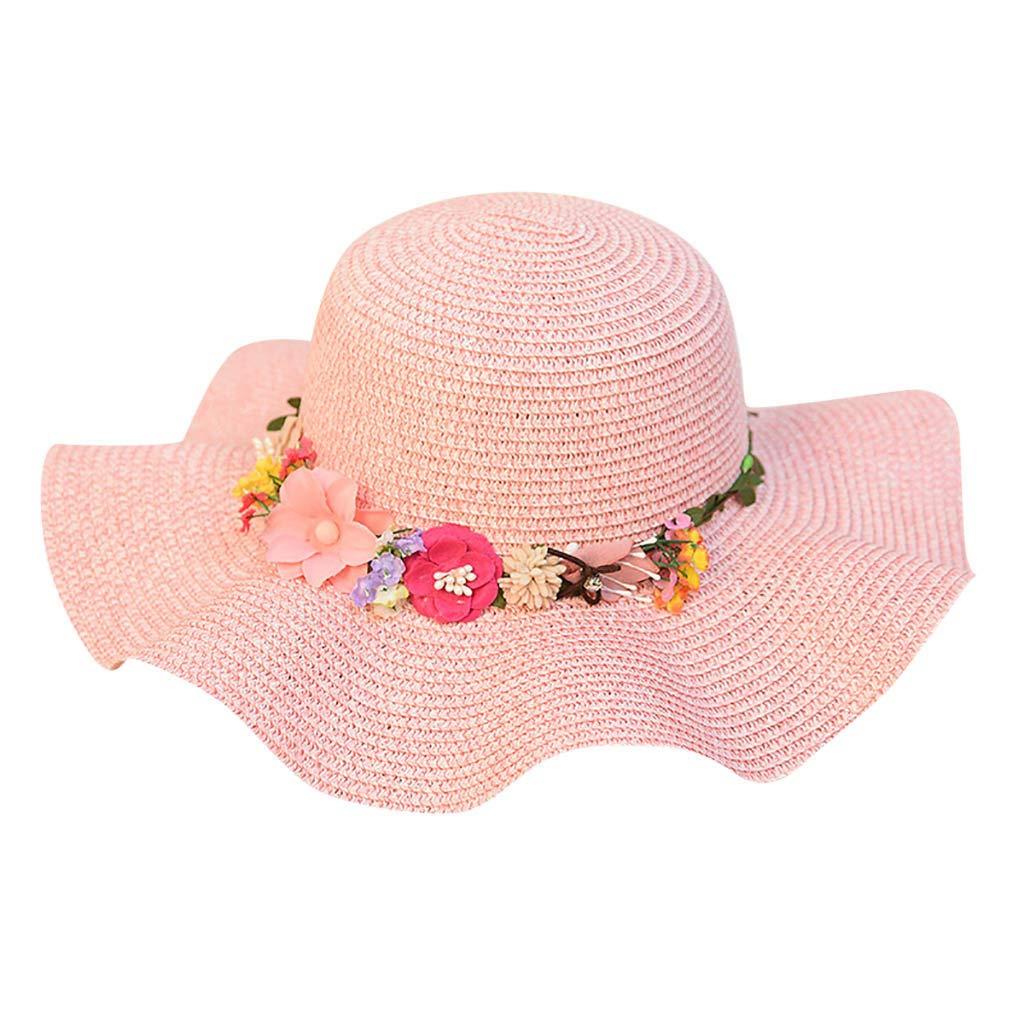 FEDULK Women Sun Beach Straw Hat Jazz Sunshade Big Wide Brim Elegant Panama Fedora Hat Wreath Cap(Pink, One Size)