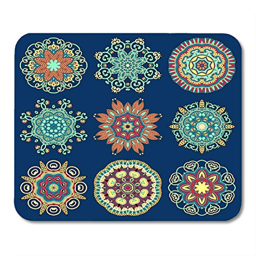 Nakamela Mouse Pads Arabesque Abstract Circle Lace Round Ornamental Geometric Doily Pattern Collection Raster Ancient Arabic Mouse mats 9.5