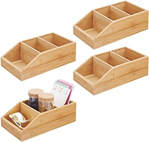 mDesign Bamboo Wood Food Storage Bin with Divided 3 Compartments and Sloped Front for Kitchen Cabinet, Pantry, Shelf to Organize Seasoning Packets, Powder Mixes, Spices, Snacks - 4 Pack - Natural