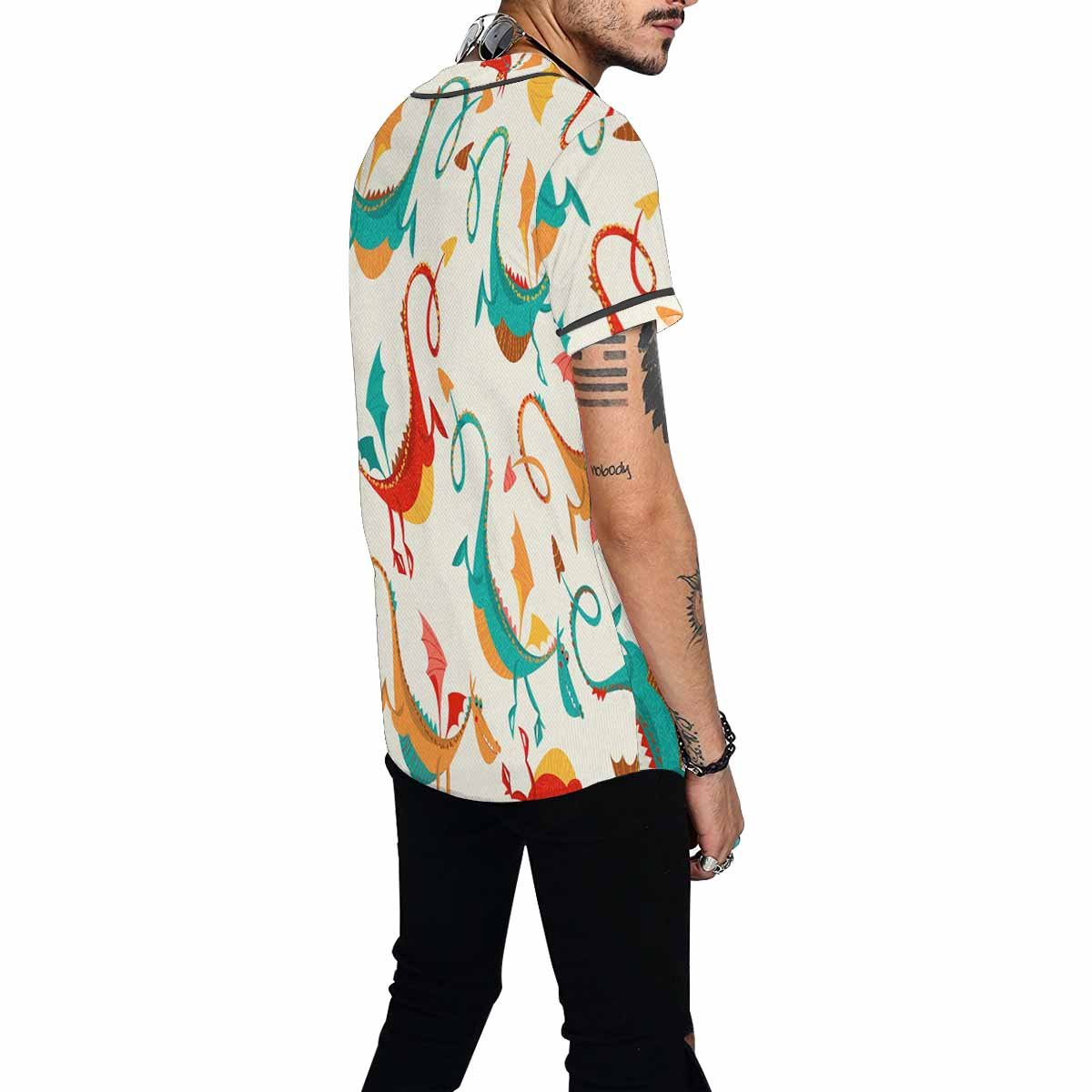 INTERESTPRINT Mens Button Down Baseball Jersey Multi-Colored Funny Dragons