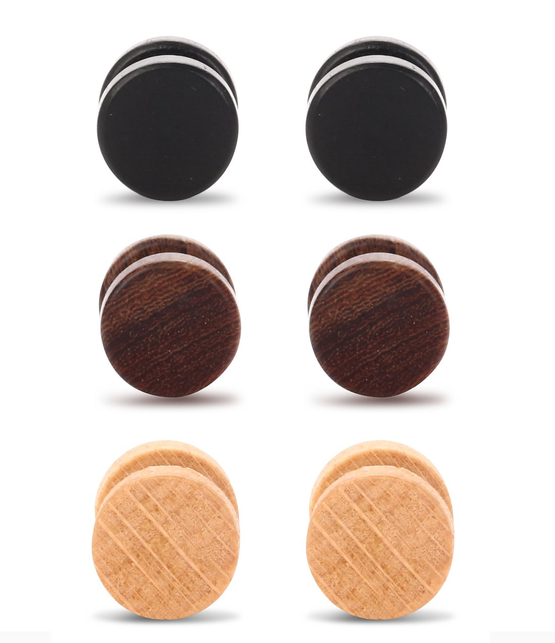 Tanyoyo Wood Cheater Fake Ear Plugs Gauges Illusion Screw Stud Earrings 3-6 pair a set B07FJMJ2V5_US