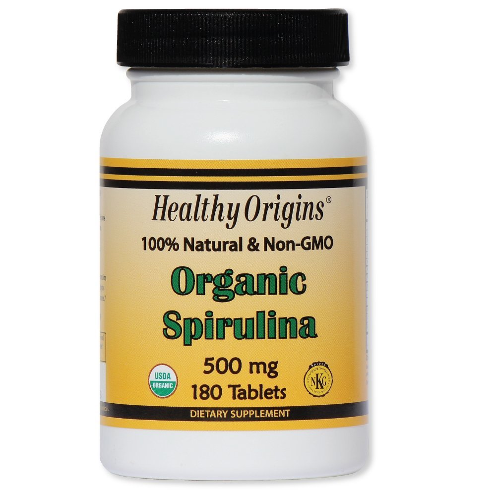 Healthy Orgins Organic and Kosher Spirulina Tablets, 500 mg, 180 count (Pack of 12)