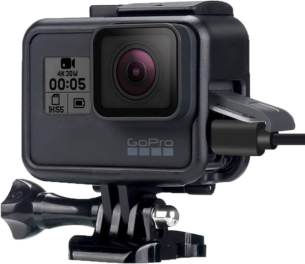 WiserElecton Frame Mount Housing Case with Lens Cover for GoPro Hero5 Hero6 Hero7 Black Hero (2018) - أسود