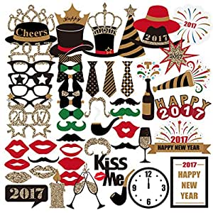 PBPBOX Photo Booth Props Creative 2017 New Years Photo Booth Props 59Pcs