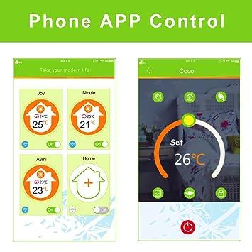 WIFI Termostato de calefacción, BECA Interruptor de control Wi-Fi Pantalla táctil LCD 3A Agua Termo calentador de piso Inalámbrico programable (3A para el ...