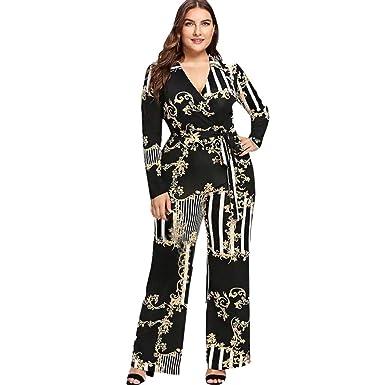 07df1837ddd6 Amazon.com  Women s Sexy V-Neck Print Jumpsuit