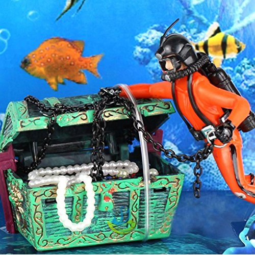 Clearance Sale!DEESEE(TM)Fish Tank Ornament Hunter Diver Treasure Figure Action Aquarium Decor Landscape (Orange) -