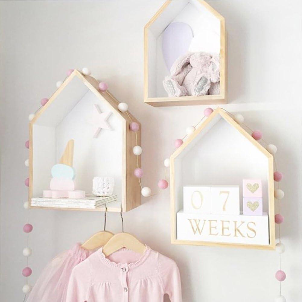 Leisuretime Set of 2 House Shape Wall Storage Shelf Expositor de Madera Estantería Colgante Decoración de la habitación de los niños (White)
