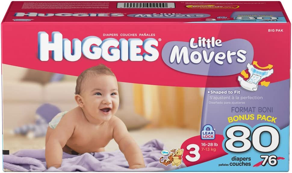 Size 3 Convenience Pack 14 Ct Packaging May Vary Huggies Little Movers Diapers 16-28 lb.