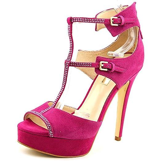 Guess Karlee Women US 7.5 Pink Peep Toe Platform Heel
