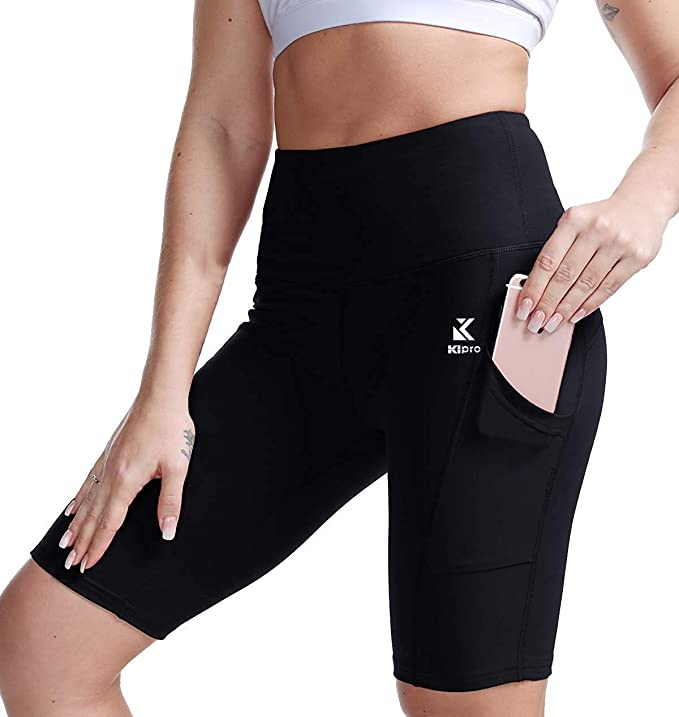 Kipro Women Yoga Shorts High Waist Leggings Workout Tights Shorts with Pockets