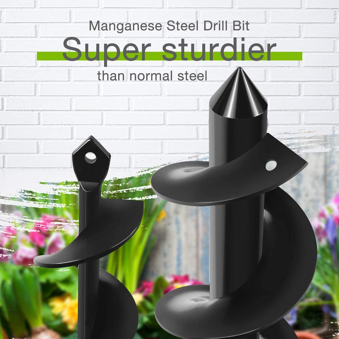 Bedding Plants and Digging Weeds Roots WORKPRO 2-Piece Auger Drill Bit Iris 1.6x9 and 3x12 Garden Auger Spiral Drill Bit Rapid Planter for 3//8 Hex Drive Drill Hole Digger for Tulips