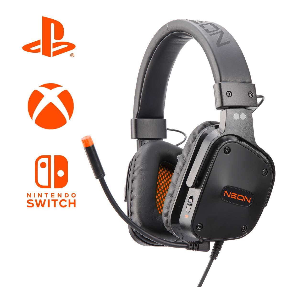 PS4 / XBOX ONE / SWITCH用2ドットゲーミングヘッドセットネオン - オレンジ(PS4) B07JVBVMLL