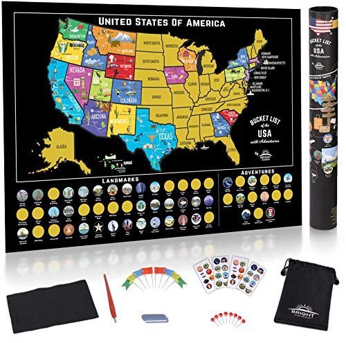 USA Scratch Off Map of The United States 50 pc Kit - 85 Landmarks - National Parks - US Scratch Off USA Map Poster - Adventure Stickers - Scratch Map USA Road Trip Travel Map Gift by Bright Standards
