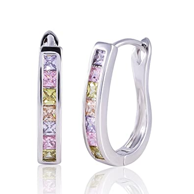 GULICX Women/'s Huggie Hoop Earrings Gold Electroplated Multicoloured Cubic...