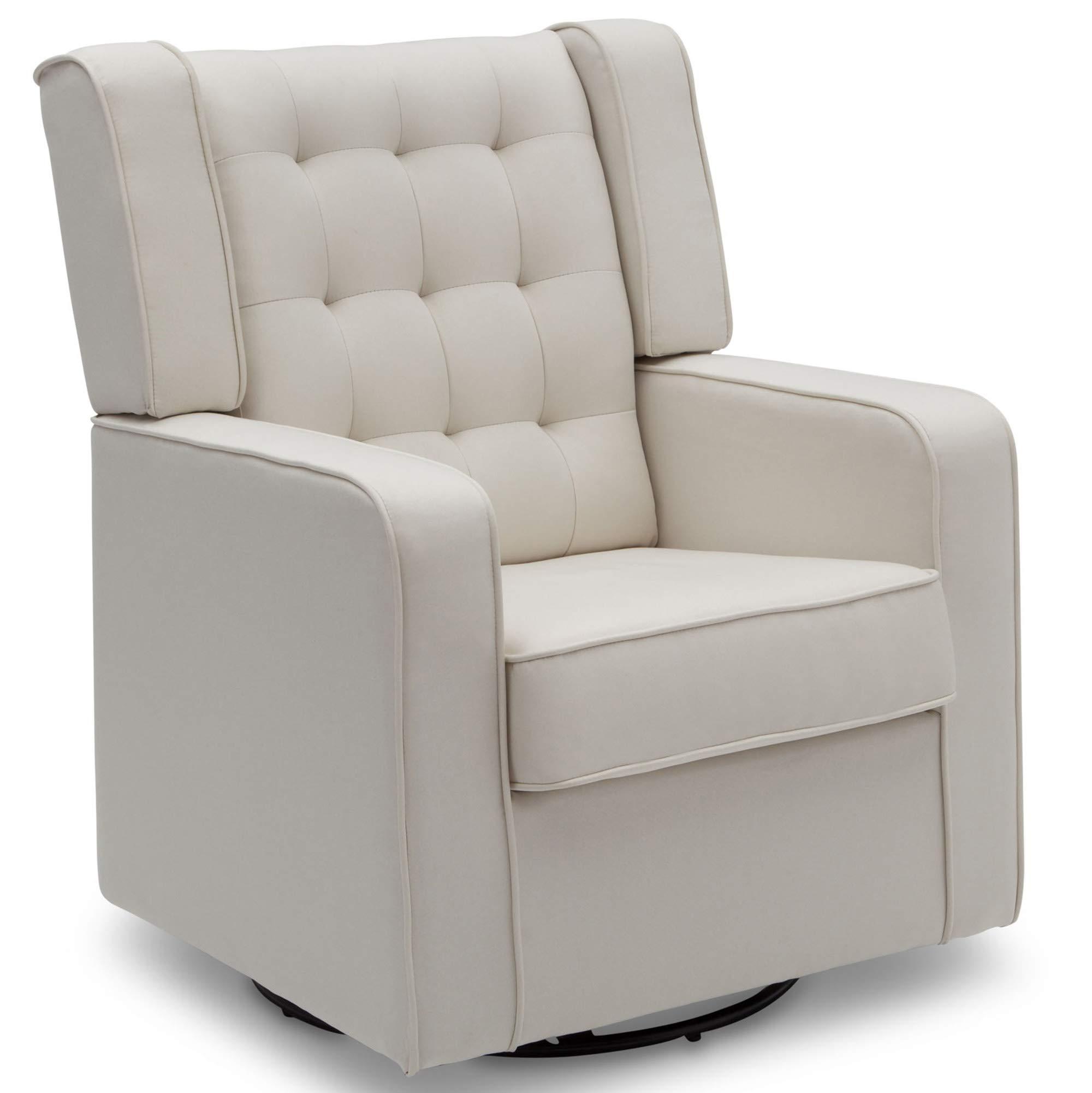 Delta Children Milan Upholstered Glider Swivel Rocker Chair, Cream