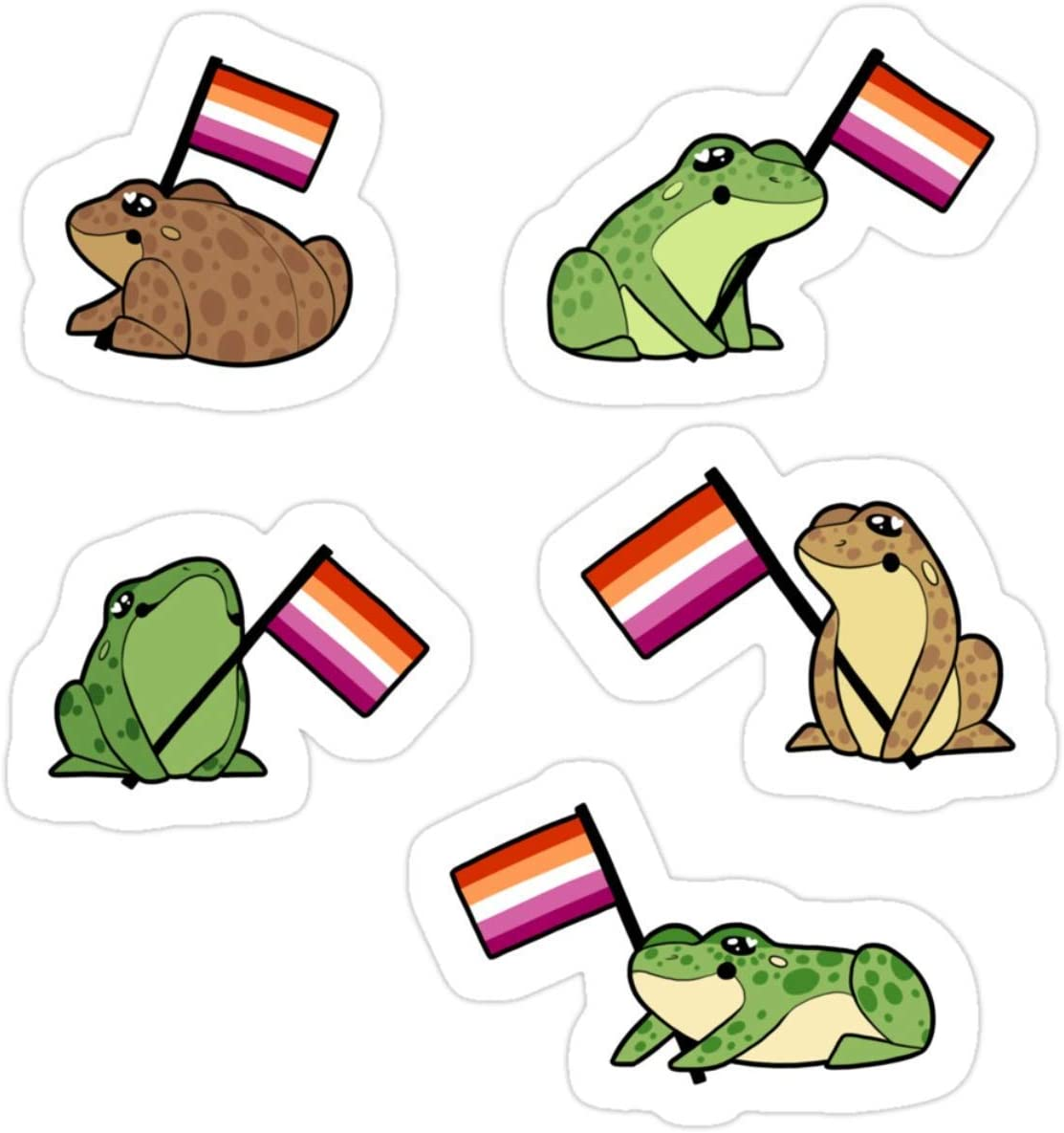 Stickers Lesbian Frog Pride Stickers Decals Bag Laptop 3x4 Inch Backpack (3 Pcs/Pack)