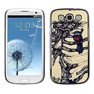 Planetar® ( Bird Pencil Sketch Bones Skeleton ) Samsung Galaxy S3 Fundas Cover Cubre Hard Case Cover