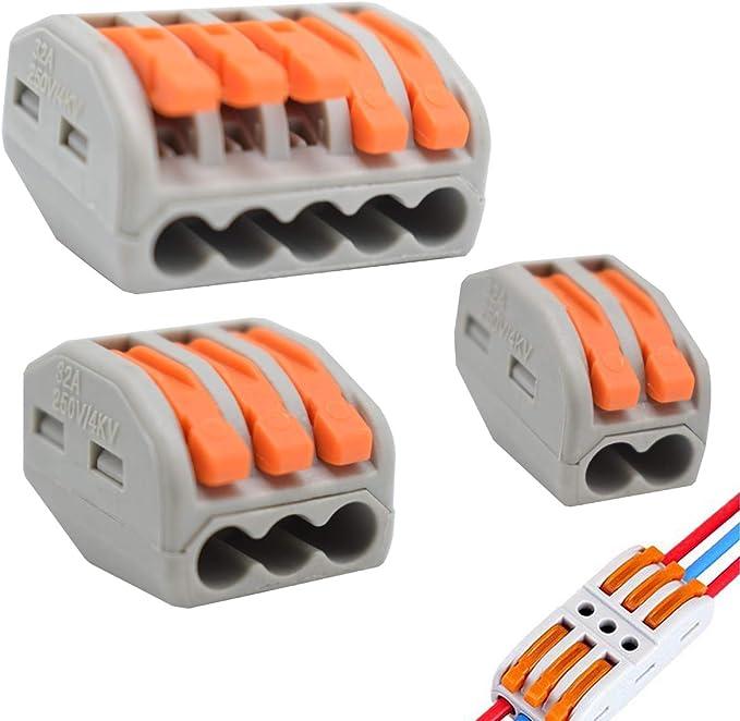 30Pcs Bornes de Connexion Automatique Connecteur /à Ecrou /à levier Connecteurs de fil Compacts Rapide Teur Electrique Connecteur Cable Electrique LT-221